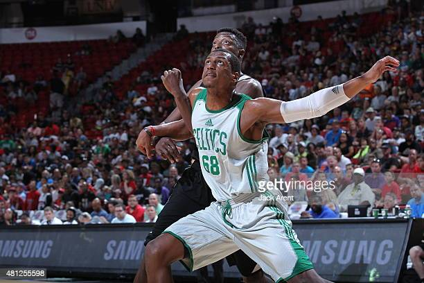 Jonathan Holmes of the Boston Celtics looks for the rebound against the San Antonio Spurs during the game on July 18 2015 at Thomas And Mack Center...