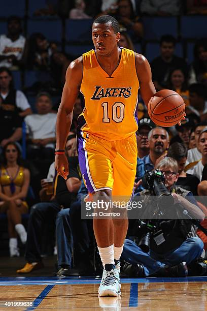Jonathan Holmes of the Los Angeles Lakers dribbles the ball against the Toronto Raptors during a preseason game on October 08 2015 at Citizens Bank...