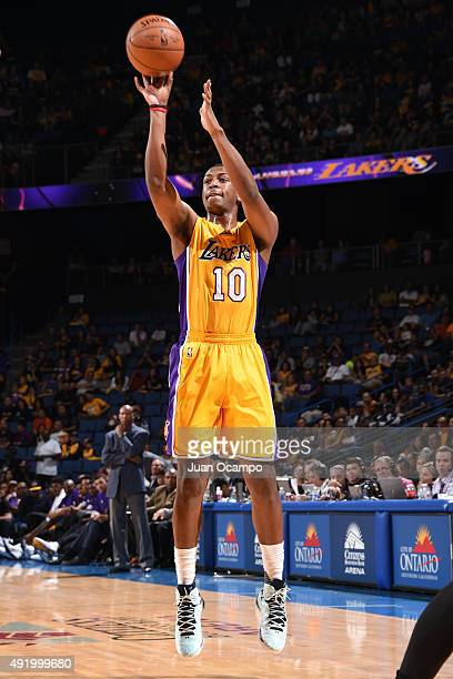 Jonathan Holmes of the Los Angeles Lakers shoots the ball against the Toronto Raptors during a preseason game on October 08 2015 at Citizens Bank...
