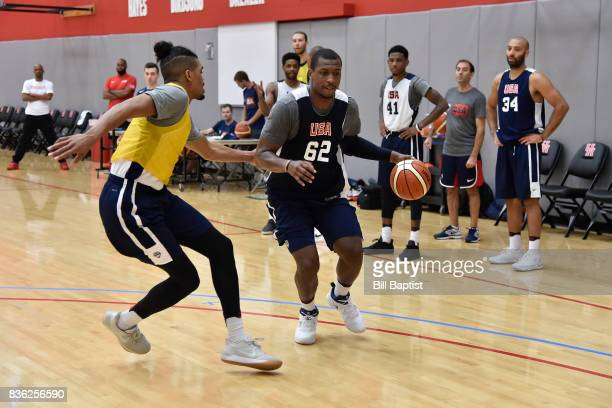 Jonathan Holmes of the USA AmeriCup Team dribbles the ball during a training camp at the University of Houston in Houston Texas on August 18 2017...