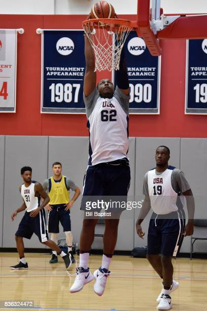 Jonathan Holmes of the USA AmeriCup Team dunks the ball during a training camp at the University of Houston in Houston Texas on August 20 2017 NOTE...