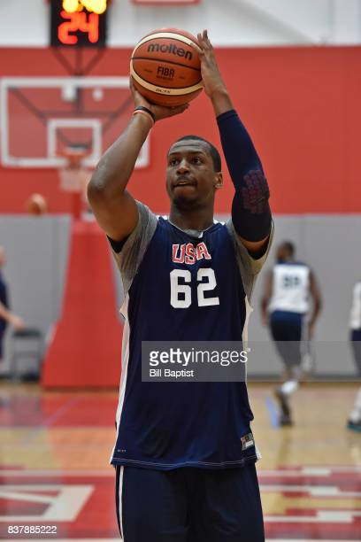 Jonathan Holmes of the USA AmeriCup Team shoots the ball during a training camp at the University of Houston in Houston Texas on August 21 2017 NOTE...