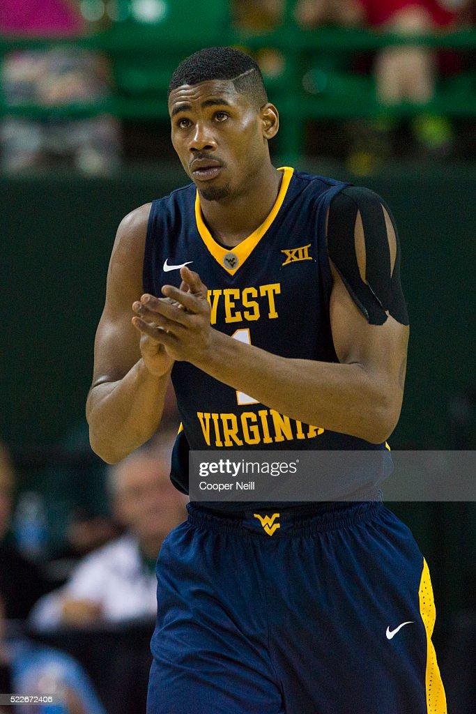 Jonathan Holton of the West Virginia Mountaineers looks on against the Baylor Bears on March 5 2016 at the Ferrell Center in Waco Texas