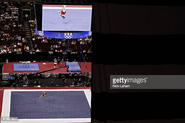 Jonathan Horton competes in the floor exercise during day one of the 2008 US Olympic Team Trials for gymnastics at the Wachovia Center on June 19...