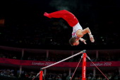 Jonathan Horton of the United States competes in the Artistic Gymnastics Men's Horizontal Bar final on Day 11 of the London 2012 Olympic Games at...
