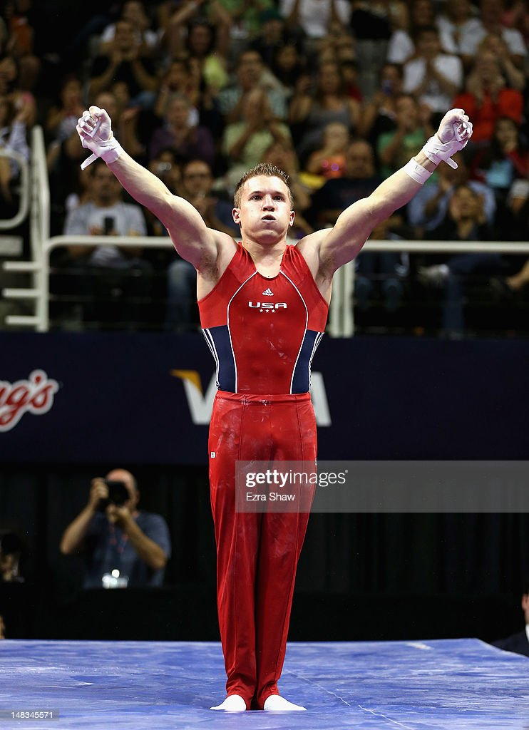 <a gi-track='captionPersonalityLinkClicked' href=/galleries/search?phrase=Jonathan+Horton&family=editorial&specificpeople=600117 ng-click='$event.stopPropagation()'>Jonathan Horton</a> reacts after competing on the rings during day 3 of the 2012 U.S. Olympic Gymnastics Team Trials at HP Pavilion on June 30, 2012 in San Jose, California.