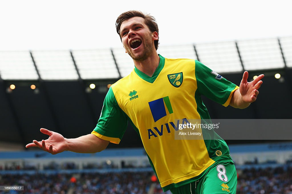 Jonathan Howson of Norwich City celebrates scoring during the Barclays Premier League match between Manchester City and Norwich City at Etihad Stadium on May 19, 2013 in Manchester, England.