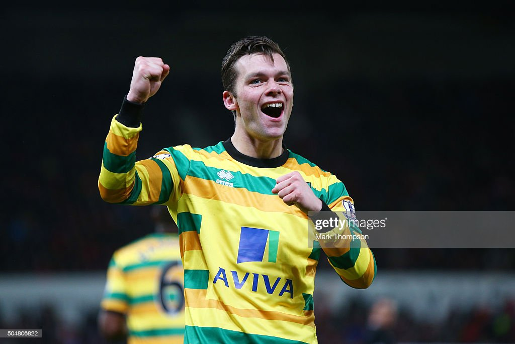 Jonathan Howson of Norwich City celebrates scoring his team's first goal during the Barclays Premier League match between Stoke City and Norwich City at the Britannia Stadium on January 13, 2016 in Stoke on Trent, England.
