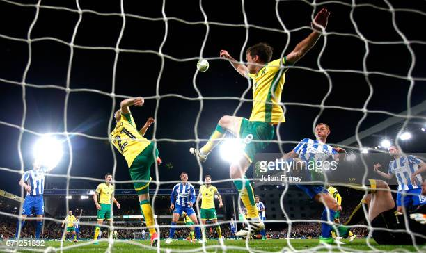 Jonathan Howson of Norwich City clears the ball off the line during the Sky Bet Championship match between Norwich City and Brighton Hove Albion at...