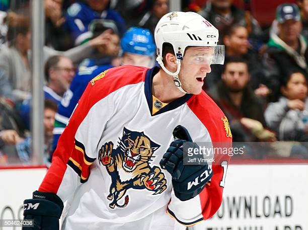 Jonathan Huberdeau of the Florida Panthers celebrates after scoring against the Vancouver Canucks during their NHL game at Rogers Arena January 11...