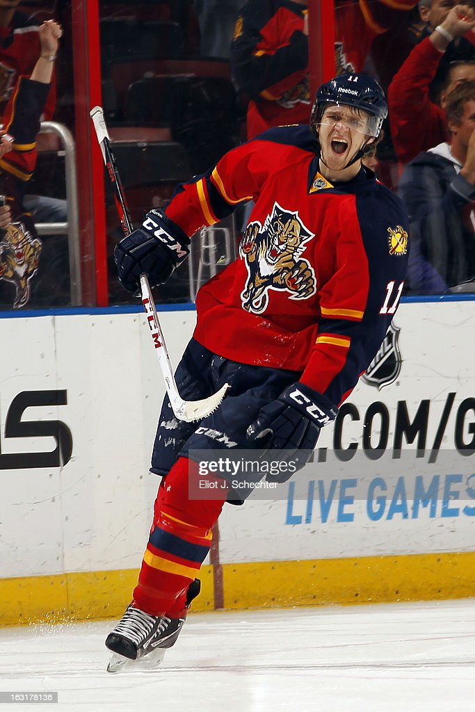 Jonathan Huberdeau #11 of the Florida Panthers celebrates his goal from a penalty shot against the Winnipeg Jets at the BB&T Center on March 5, 2013 in Sunrise, Florida.