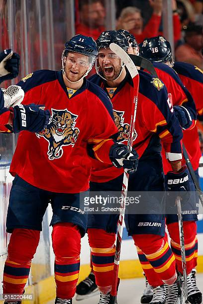 Jonathan Huberdeau of the Florida Panthers celebrates his goal with teammates against the Philadelphia Flyers during the second period at the BBT...