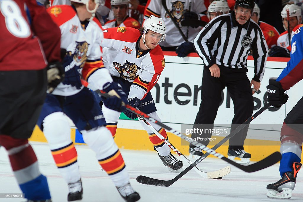 <a gi-track='captionPersonalityLinkClicked' href=/galleries/search?phrase=Jonathan+Huberdeau&family=editorial&specificpeople=7144196 ng-click='$event.stopPropagation()'>Jonathan Huberdeau</a> #11 of the Florida Panthers controls the puck against the Colorado Avalanche at Pepsi Center on November 16, 2013 in Denver, Colorado. The Panthers defeated the Avalanche 4-1.