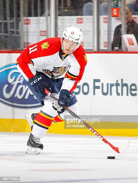 Jonathan Huberdeau of the Florida Panthers in action against the New Jersey Devils at the Prudential Center on January 31 2015 in Newark New Jersey...