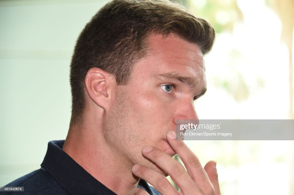 Jonathan Huberdeau of the Florida Panthers looks on during a press conference announcing Gerard Gallant as Florida Panthers new head coach at the BB&T Center on June 23, 2014 in Sunrise, Florida.