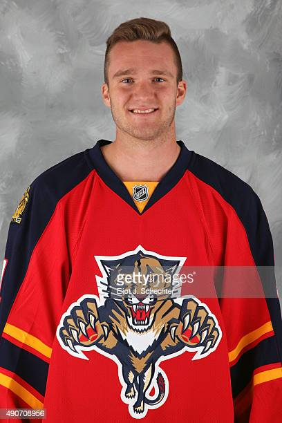 Jonathan Huberdeau of the Florida Panthers poses for his official headshot for the 20152016 season on September 17 2015 at the BBT Center in Sunrise...