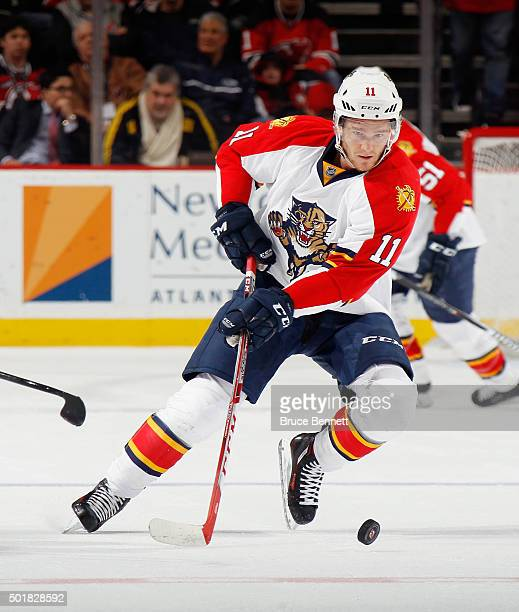 Jonathan Huberdeau of the Florida Panthers skates against the New Jersey Devils at the Prudential Center on December 17 2015 in Newark New Jersey The...