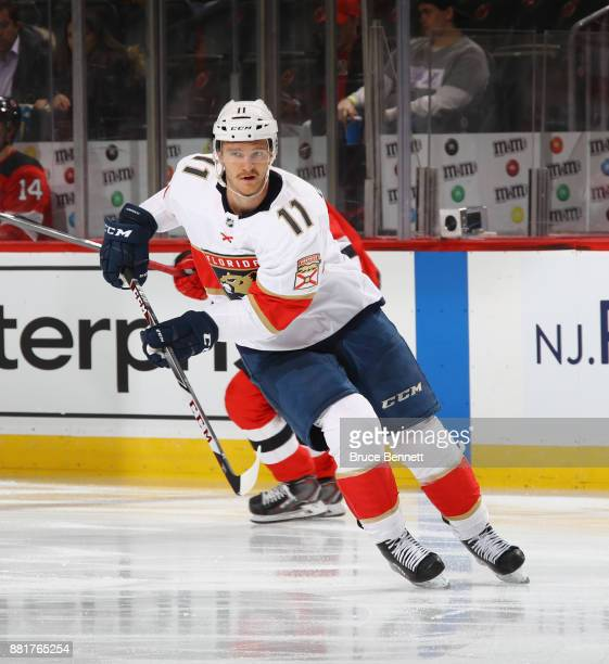 Jonathan Huberdeau of the Florida Panthers skates against the New Jersey Devils at the Prudential Center on November 27 2017 in Newark New Jersey The...