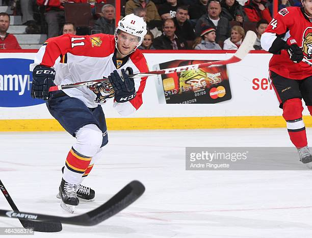 Jonathan Huberdeau of the Florida Panthers skates against the Ottawa Senators at Canadian Tire Centre on February 21 2015 in Ottawa Ontario Canada
