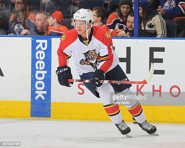 Jonathan Huberdeau of the Florida Panthers skates during a game against the Edmonton Oilers on January 10 2016 at Rexall Place in Edmonton Alberta...