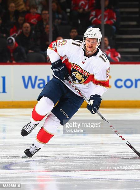 Jonathan Huberdeau of the Florida Panthers skates during the game against the New Jersey Devils at Prudential Center on November 27 2017 in Newark...