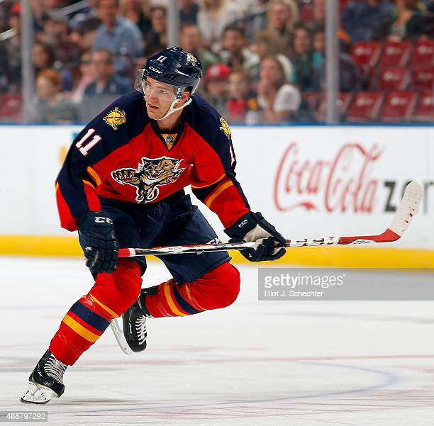 Jonathan Huberdeau of the Florida Panthers skates for position against the Tampa Bay Lightning at the BBT Center on April 4 2015 in Sunrise Florida