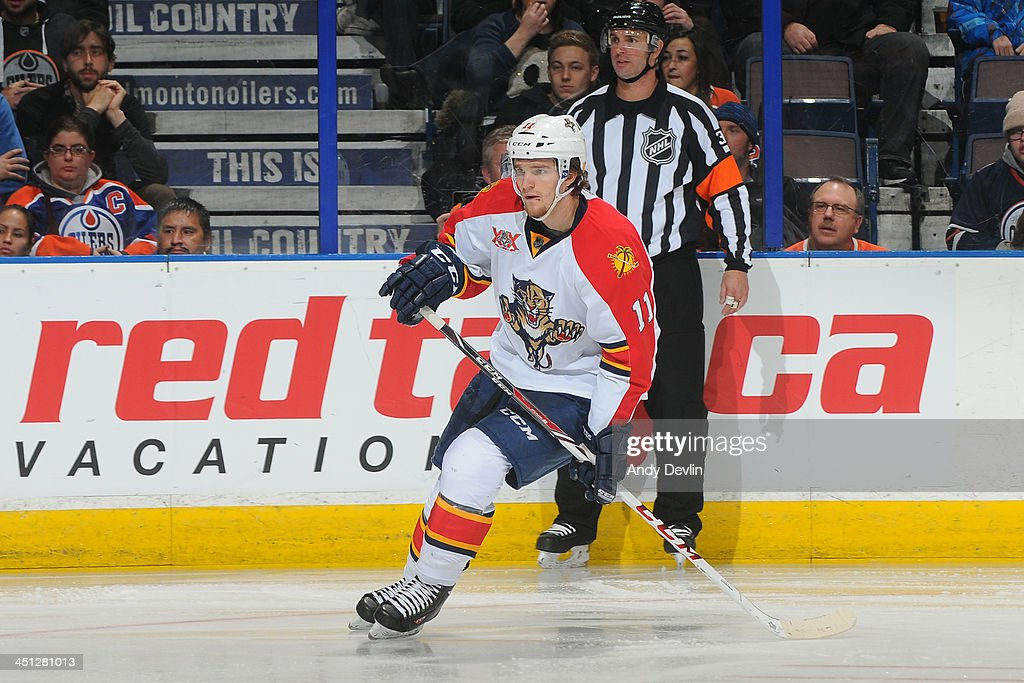 <a gi-track='captionPersonalityLinkClicked' href=/galleries/search?phrase=Jonathan+Huberdeau&family=editorial&specificpeople=7144196 ng-click='$event.stopPropagation()'>Jonathan Huberdeau</a> #11 of the Florida Panthers skates on the ice in a game against the Edmonton Oilers on November 21, 2013 at Rexall Place in Edmonton, Alberta, Canada.
