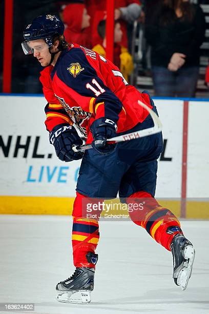 Jonathan Huberdeau of the Florida Panthers skates on the ice prior to the start of the game against the Tampa Bay Lightning at the BBT Center on...