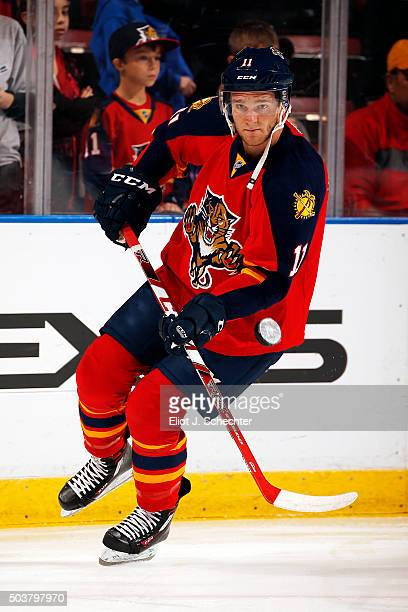 Jonathan Huberdeau of the Florida Panthers skates on the ice prior to the start of the game against the Minnesota Wild at the BBT Center on January 3...
