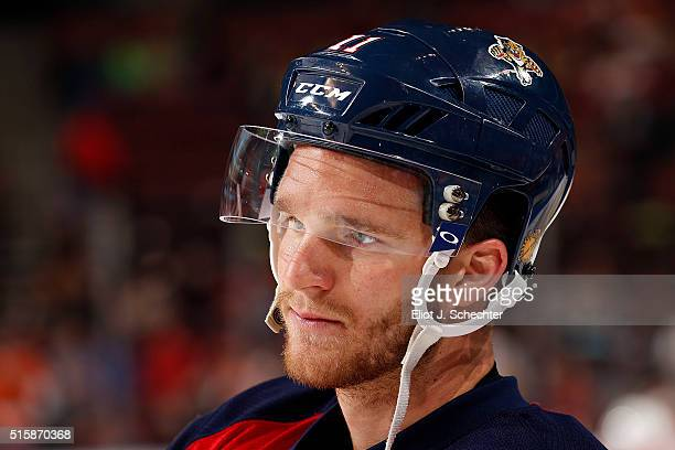 Jonathan Huberdeau of the Florida Panthers skates on the ice prior to the start of the game against the Philadelphia Flyers at the BBT Center on...