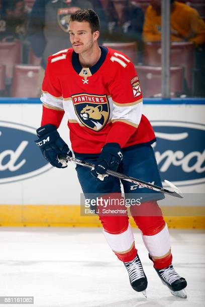 Jonathan Huberdeau of the Florida Panthers skates on the ice prior to the start of the game against the Chicago Blackhawks at the BBT Center on...