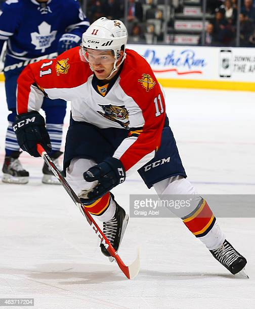 Jonathan Huberdeau of the Florida Panthers skates up the ice during game action against the Toronto Maple Leafs on February 17 2015 at Air Canada...