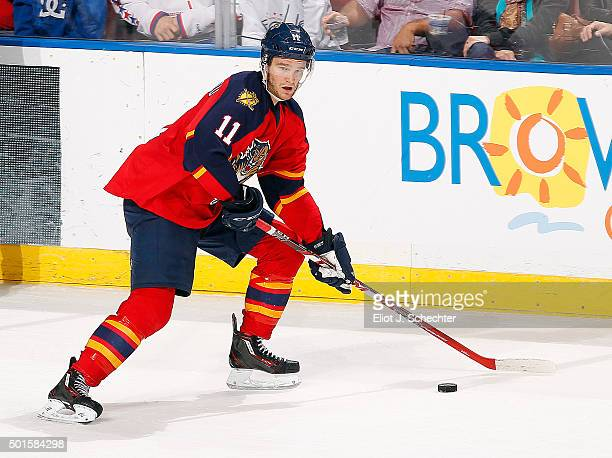 Jonathan Huberdeau of the Florida Panthers skates with the puck against the Washington Capitals at the BBT Center on December 10 2015 in Sunrise...