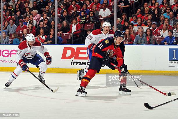 Jonathan Huberdeau of the Florida Panthers skates with the puck against the Montreal Canadiens at the BBT Center on December 29 2015 in Sunrise...