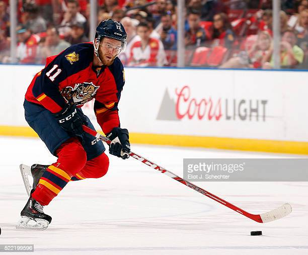Jonathan Huberdeau of the Florida Panthers skates with the puck against the New York Islanders in Game One of the Eastern Conference Quarterfinals...