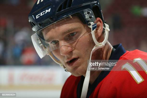 Jonathan Huberdeau of the Florida Panthers warms up prior to the start of the game against the Toronto Maple Leafs at the BBT Center on March 14 2017...
