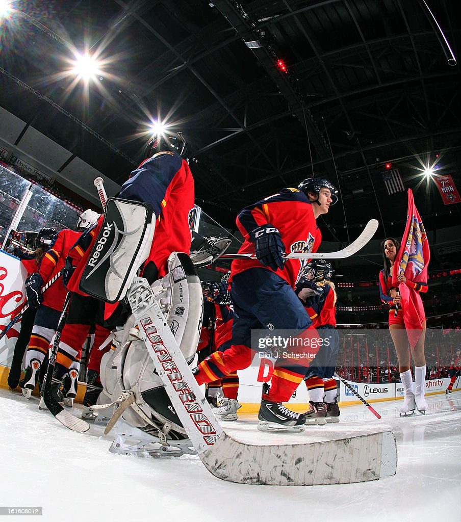 <a gi-track='captionPersonalityLinkClicked' href=/galleries/search?phrase=Jonathan+Huberdeau&family=editorial&specificpeople=7144196 ng-click='$event.stopPropagation()'>Jonathan Huberdeau</a> #11of the Florida Panthers skates out to the ice prior to the start of the game against the Washington Capitals at the BB&T Center on February 12, 2013 in Sunrise, Florida.