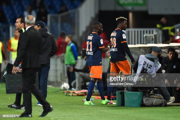 Jonathan Ikone and Isaac Mbenza of Montpellier during the Ligue 1 match between Montpellier Herault SC and Fc Lorient at Stade de la Mosson on April...
