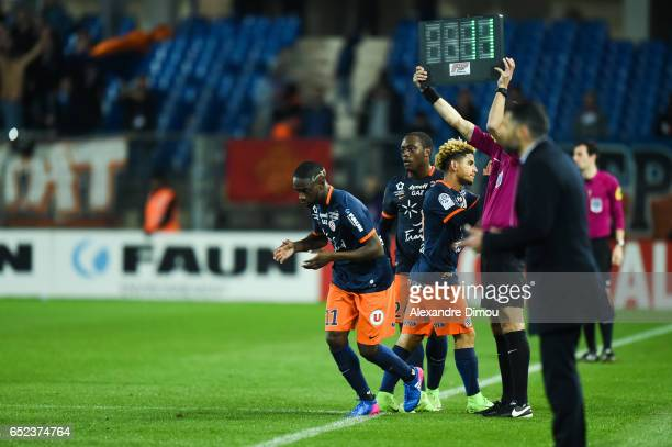 Jonathan Ikone and Keagna Dolly and Jeroem Roussillon of Montpellier during the Ligue 1 match between Montpellier Herault and Fc Nantes at Stade de...