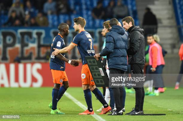 Jonathan Ikone and Paul Lasne of Montpellier during the French Ligue 1 match between Montpellier and Lille at Stade de la Mosson on April 29 2017 in...