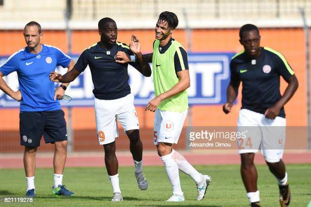 Jonathan Ikone and Pedro Mendes of Montpellier during the friendly match between Montpellier Herault and Toulouse Fc on July 22 2017 in Narbonne...