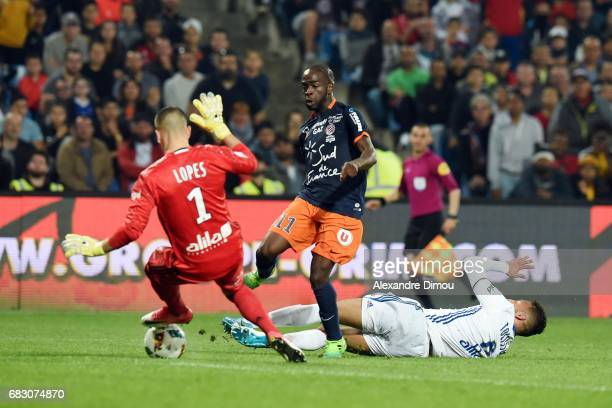 Jonathan Ikone of Montpellier and Anthony Lopes and Corentin Tolisso of Lyon during the Ligue 1 match between Montpellier and Olympique Lyonnais Lyon...