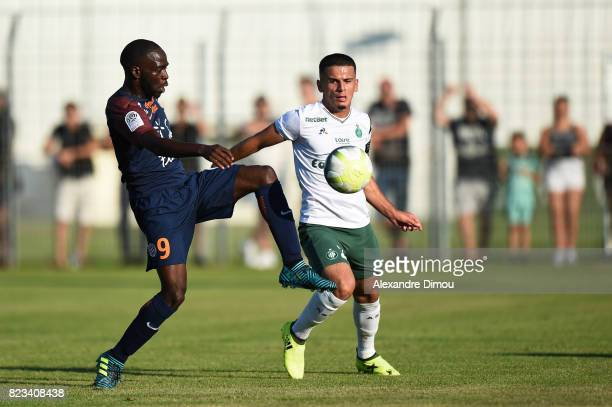 Jonathan Ikone of Montpellier and Lamine Ghezali of Saint Etienne during the Friendly match between Montpellier and Saint Etienne on July 26 2017 in...