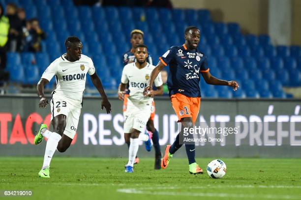 Jonathan Ikone of Montpellier during the French Ligue 1 match between Montpellier and Monaco at Stade de la Mosson on February 7 2017 in Montpellier...