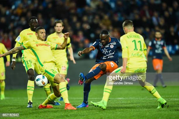 Jonathan Ikone of Montpellier during the Ligue 1 match between Montpellier Herault and Fc Nantes at Stade de la Mosson on March 11 2017 in...