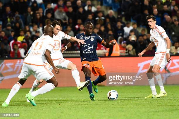 Jonathan Ikone of Montpellier during the Ligue 1 match between Montpellier Herault SC and Fc Lorient at Stade de la Mosson on April 15 2017 in...