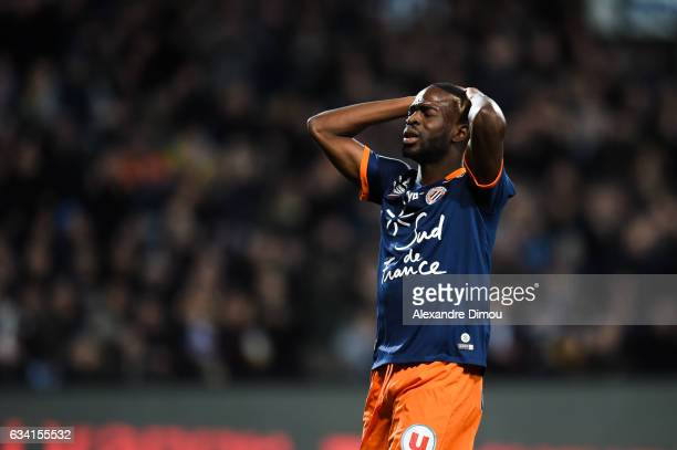 Jonathan Ikone of Montpellier looks dejected during the French Ligue 1 match between Montpellier and Monaco at Stade de la Mosson on February 7 2017...