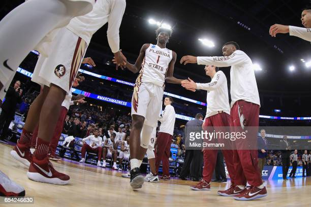 Jonathan Isaac of the Florida State Seminoles is introduced prior to the game against the Florida Gulf Coast Eagles in the first round of the 2017...