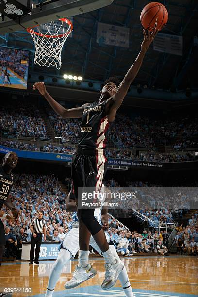 Jonathan Isaac of the Florida State Seminoles plays against the North Carolina Tar Heels on January 14 2017 at the Dean Smith Center in Chapel Hill...