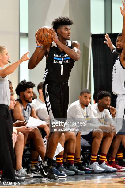 Jonathan Isaac of the Orlando Magic inbounds the ball against the Indiana Pacers during the 2017 Orlando Summer League on July 1 2017 at Amway Center...